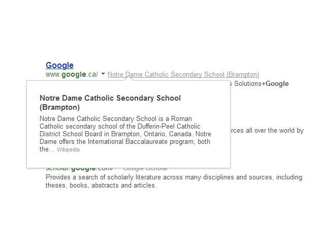 Expérimentation Google Search août 2013