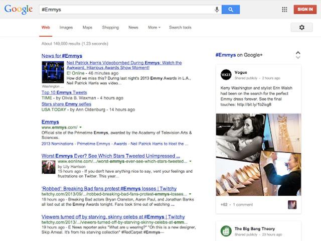 Hashtags Google+ dans Google Search