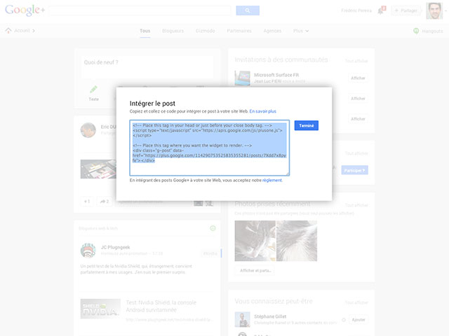 Lecteur EMBED Google+