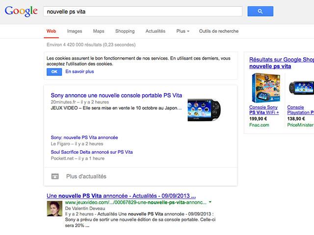 Nouvel encart Google Actualités