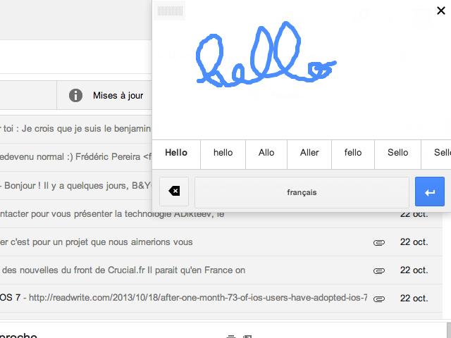 Ecriture manuscrite Gmail / Google Drive