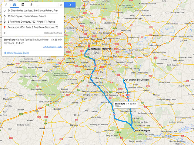 Itinéraires multiples Google Maps