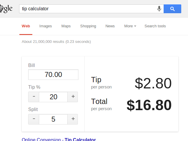 Le tip calculator de Google