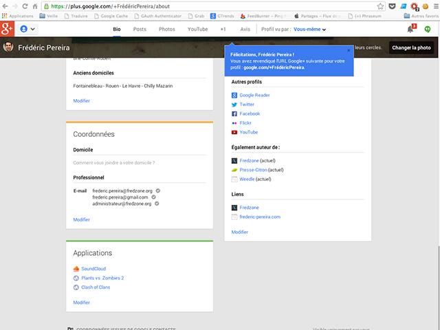 URL personnalisées Google+ : capture 3