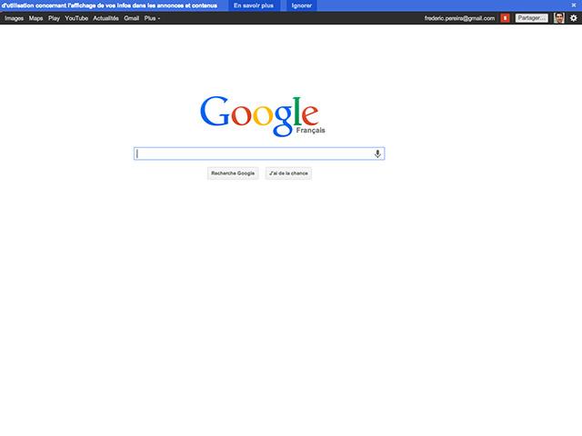 Faire réapparaître barre noire Google