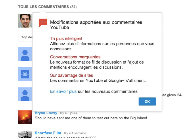 Commentaires Google+ YouTube