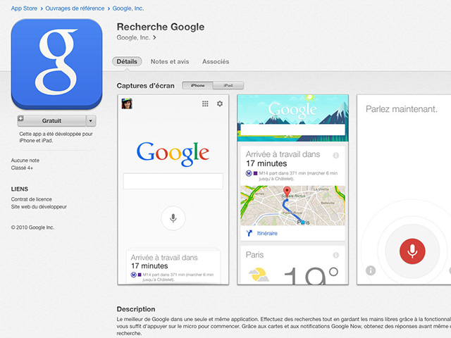Nouvelle version Google Search iOS
