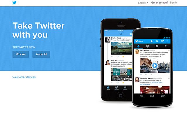 Nouvelle version Twitter web : capture 1