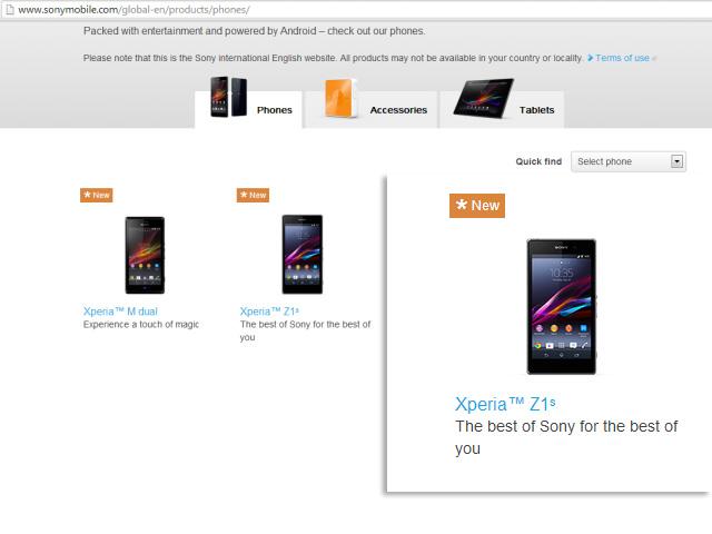Sony Xperia Z1s sur le site de Sony