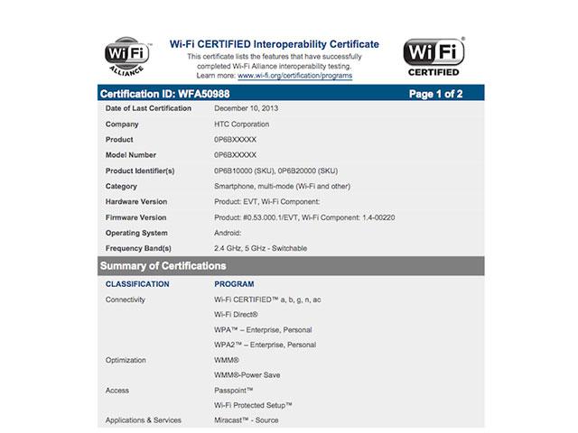 Certification WiFi HTC One 2