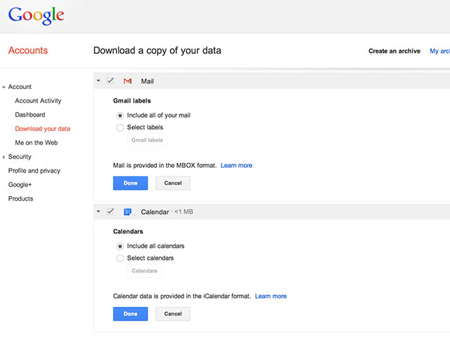 Gmail Google Takeout