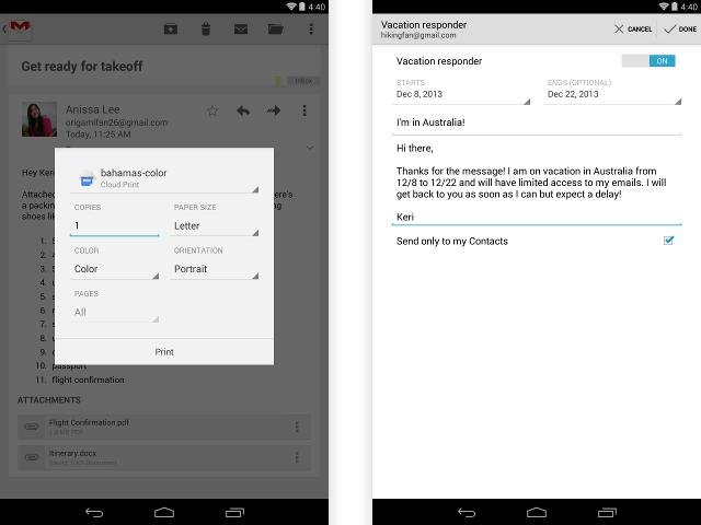 Gmail : le répondeur et l'impression sur l'application Android