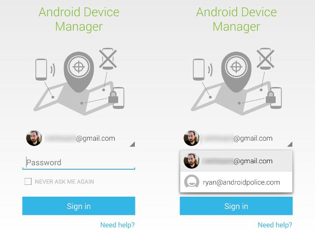Android Device Manager va nous demander un mot de passe