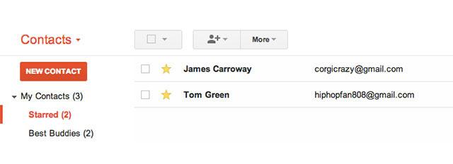 Favoris Google Contacts