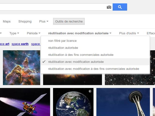 Le filtre par licences mieux visible sur Google Images