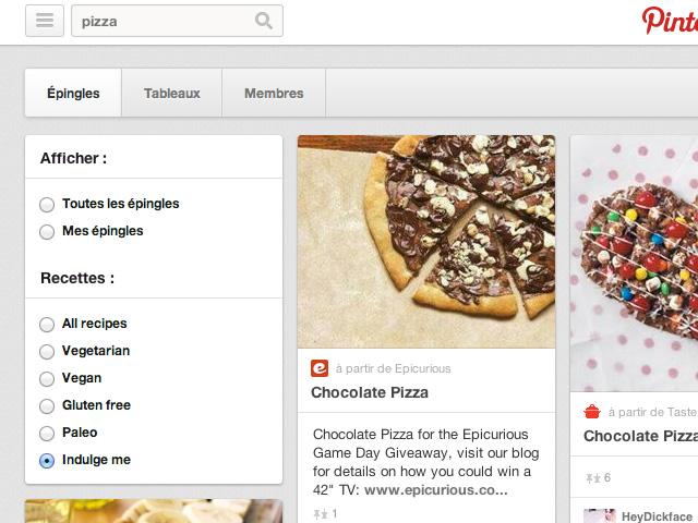 Filtres recherche Pinterest