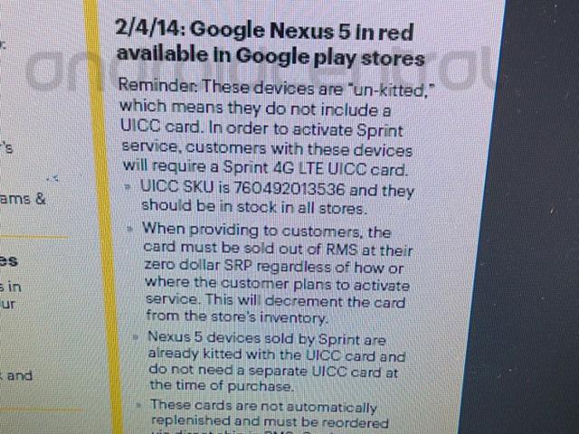 Sortie Nexus 5 rouge : image 1