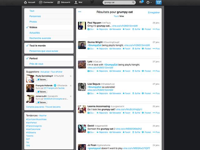 Nouveaux filtres Twitter