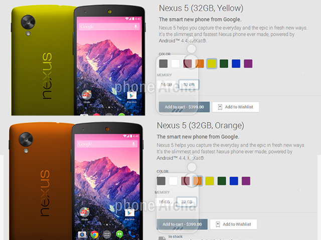 Nouvelles couleurs Nexus 5