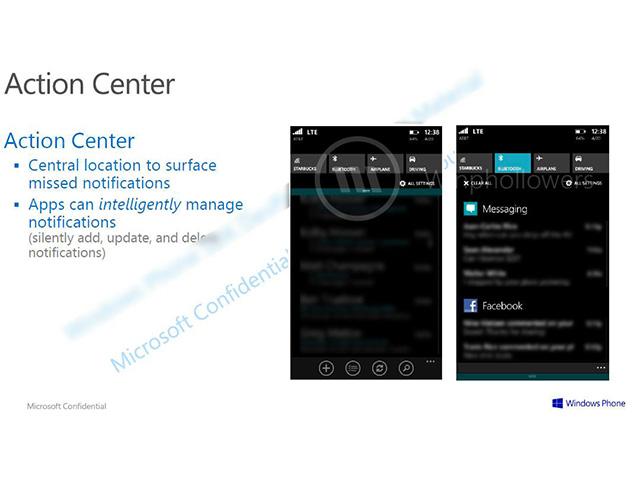 Centre de notifications Windows Phone 8.1