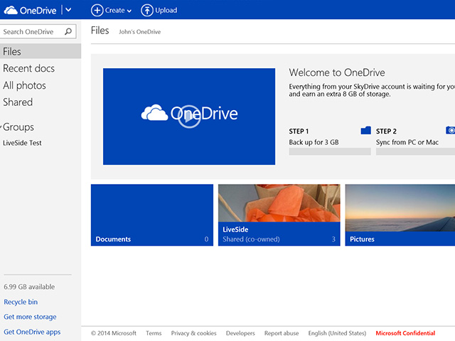 OneDrive : capture 1