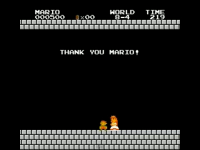 Super Mario Bros. terminé avec 500 points