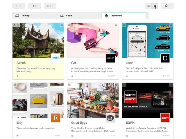 Gmail : un affichage en grille pour les promotions