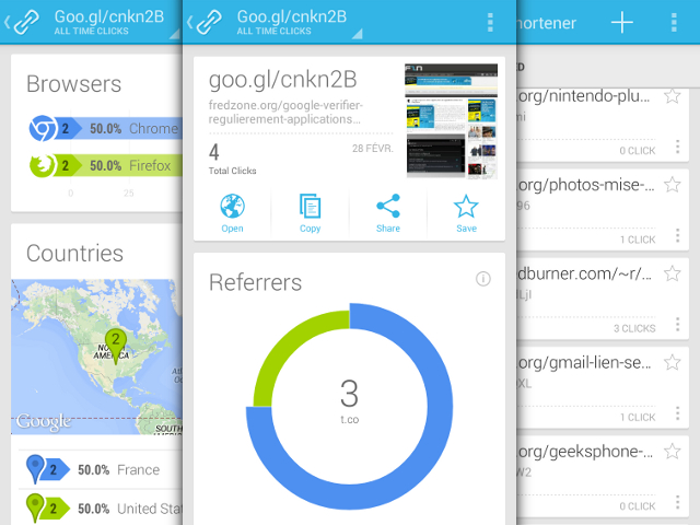 Google URL Shortener a enfin son application Android