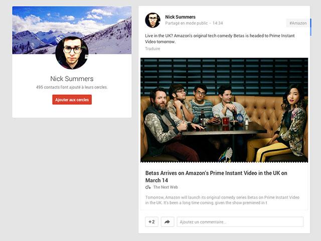 Nouvelle présentation liens Google+