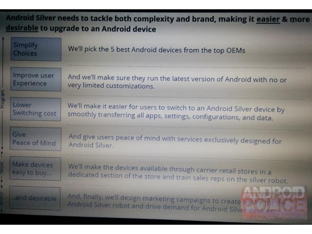 Android Silver, le nouveau programme de Google