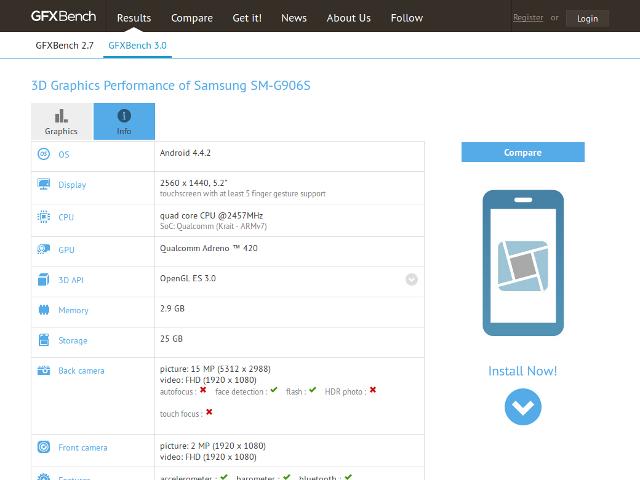 Les spécifications supposées du Samsung SM-G906S