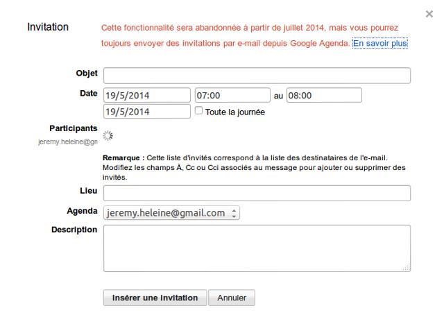Google abandonne les invitations Agenda depuis Gmail