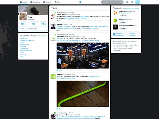 Nouvelle page d'accueil Twitter
