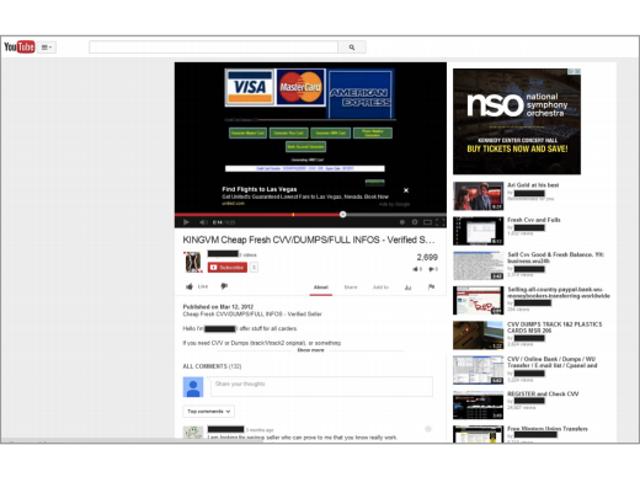 Des cartes de crédit circulent sur YouTube