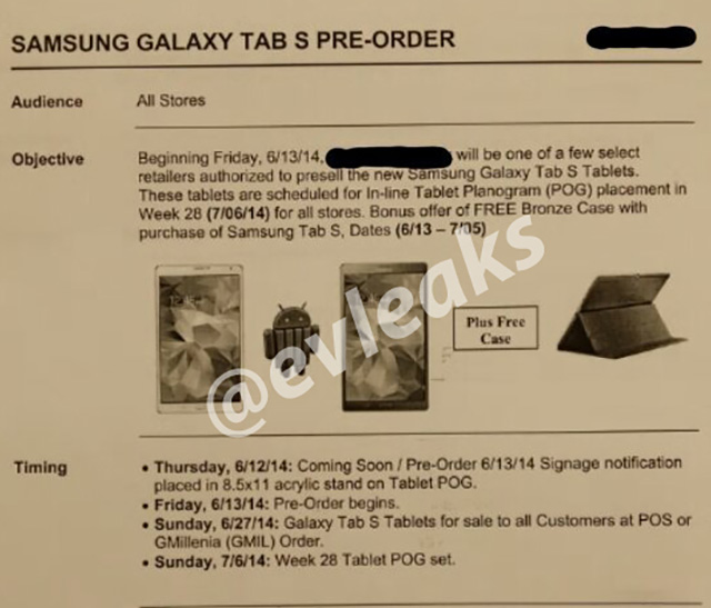Dates Galaxy Tab S