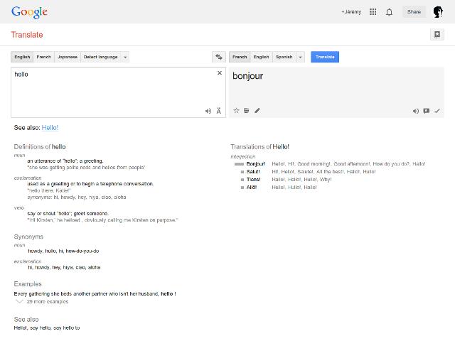 Des définitions dans Google Translate