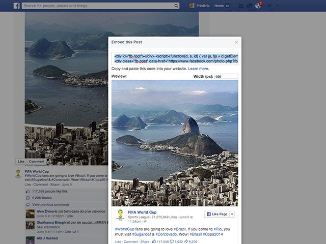 Nouveau code EMBED Facebook juin 14