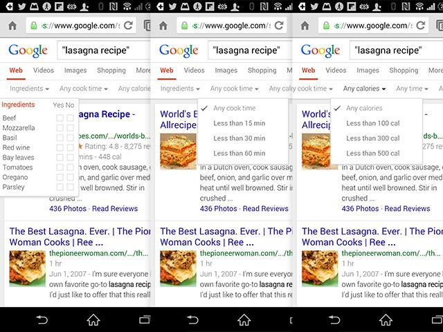 Filtres recettes Google