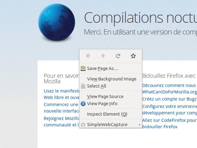 Firefox ajoute des icônes dans le clic droit