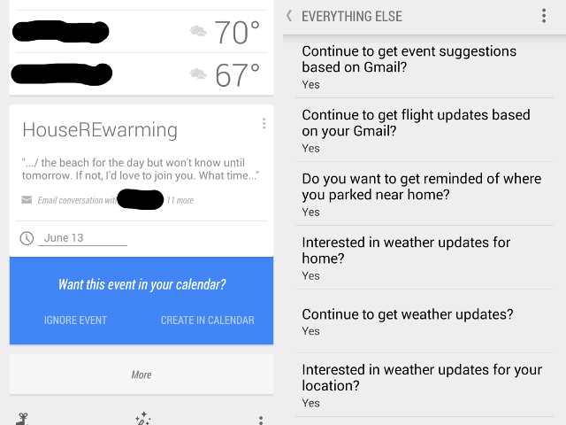 Google Now relie Agenda et Gmail