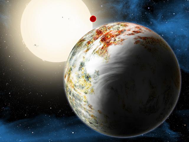 Une vue d'artiste de Kepler-10c, montrant sa taille imposante