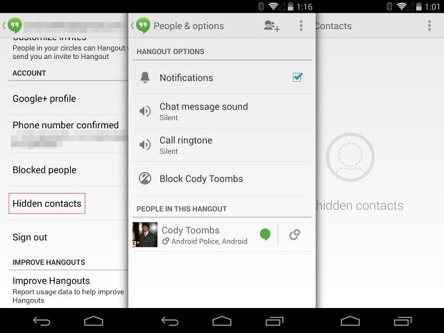 Nouvelle version de Hangouts pour Android
