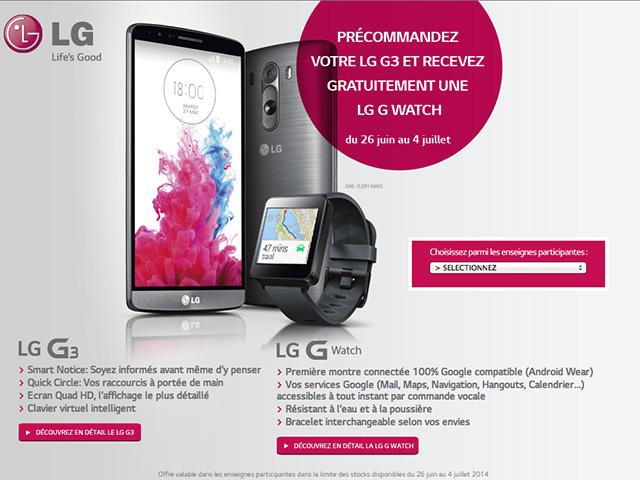 Offre LG G3 + LG G Watch