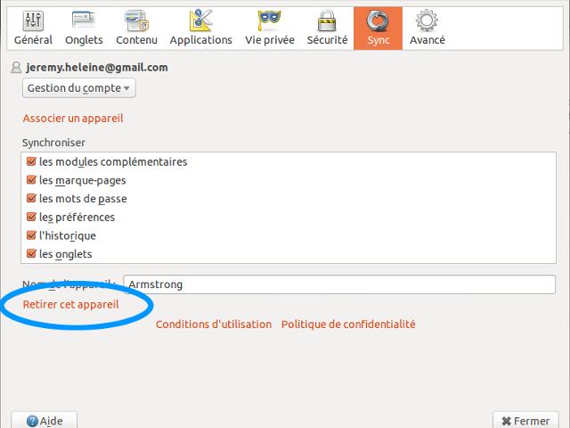 Retirer un appareil de Firefox Sync