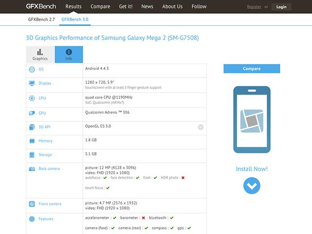 Samsung Galaxy Mega 2 Specs