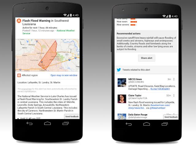 Des tweets dans les alertes publiques de Google
