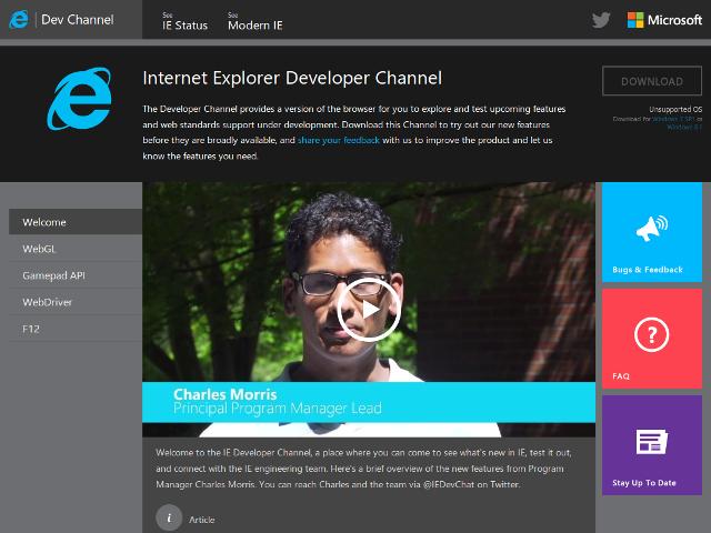 Une version de développement pour Internet Explorer