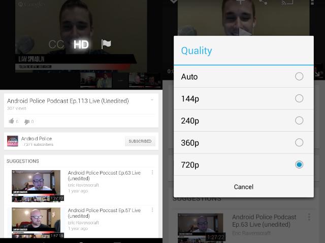 Le choix de la qualité video sur YouTube pour Android : avant / après