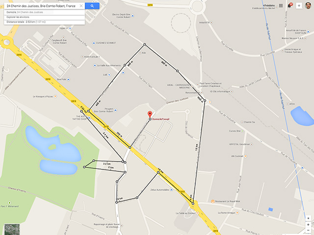Calcul distance Google Maps