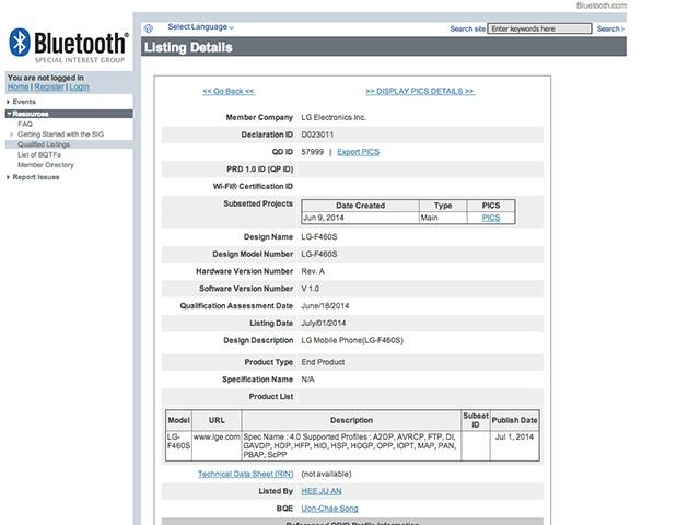 Certification LG G3 Prime